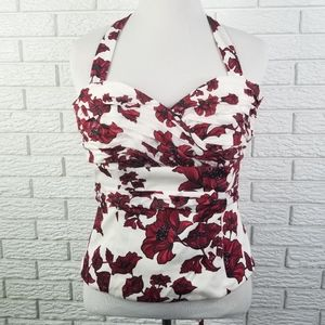 WHBM Bustier Corset Strapless Top 10 Red Floral